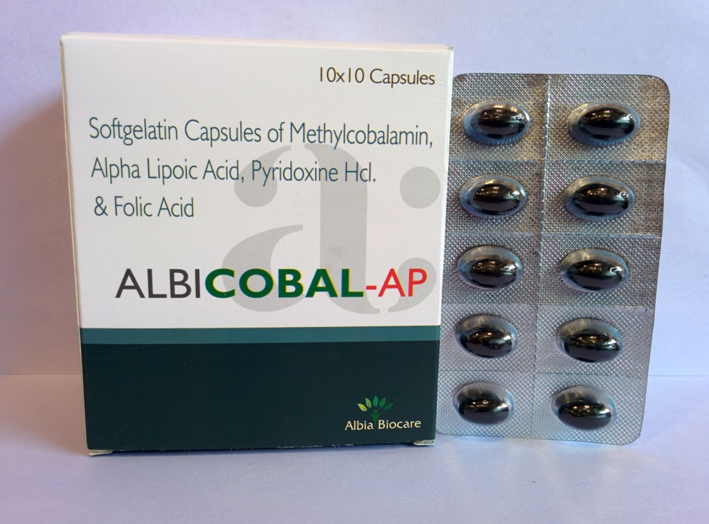 ALBICOBAL-AP SOFTGEL | Methylcobalamin 1500mcg + Alpha Lipoic Acid 100mg + Vitamin B6  3mg + Folic Acid 1500mcg