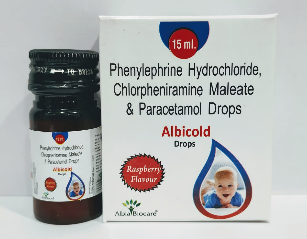 ALBICOLD Drops | Phenylepherine 2.5 mg + Paracetamol 125 mg + CPM 1 mg (per ml)