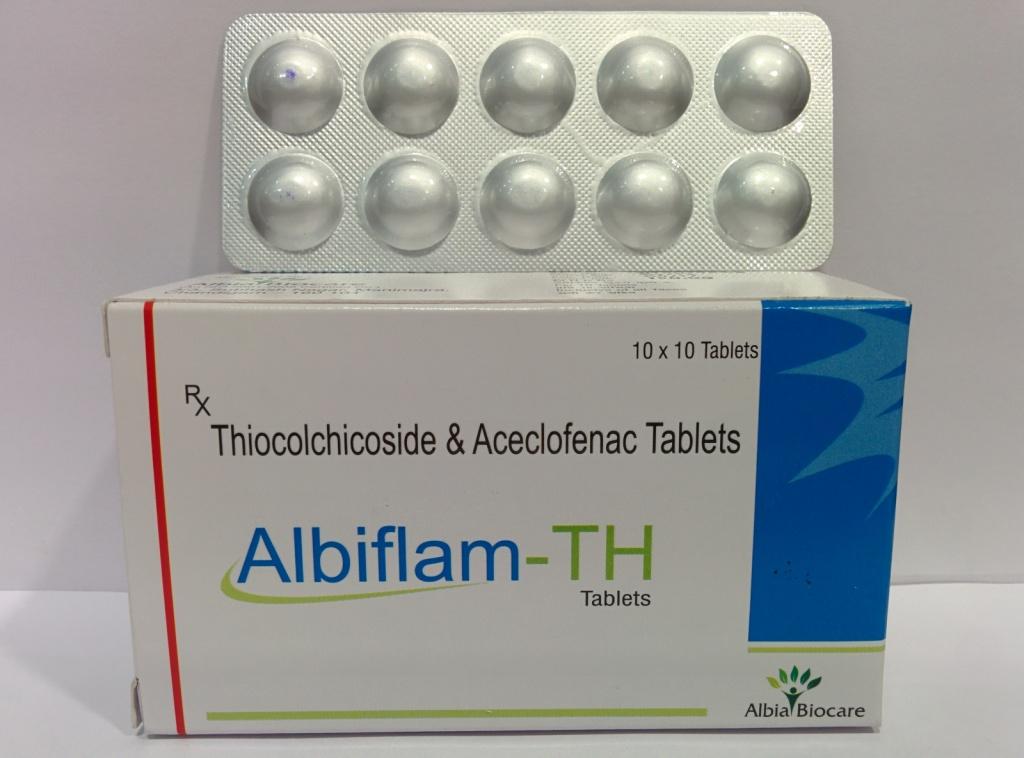 ALBIFLAM-TH TAB. | Aceclofenac 100mg + Thiocolchicoside 4mg