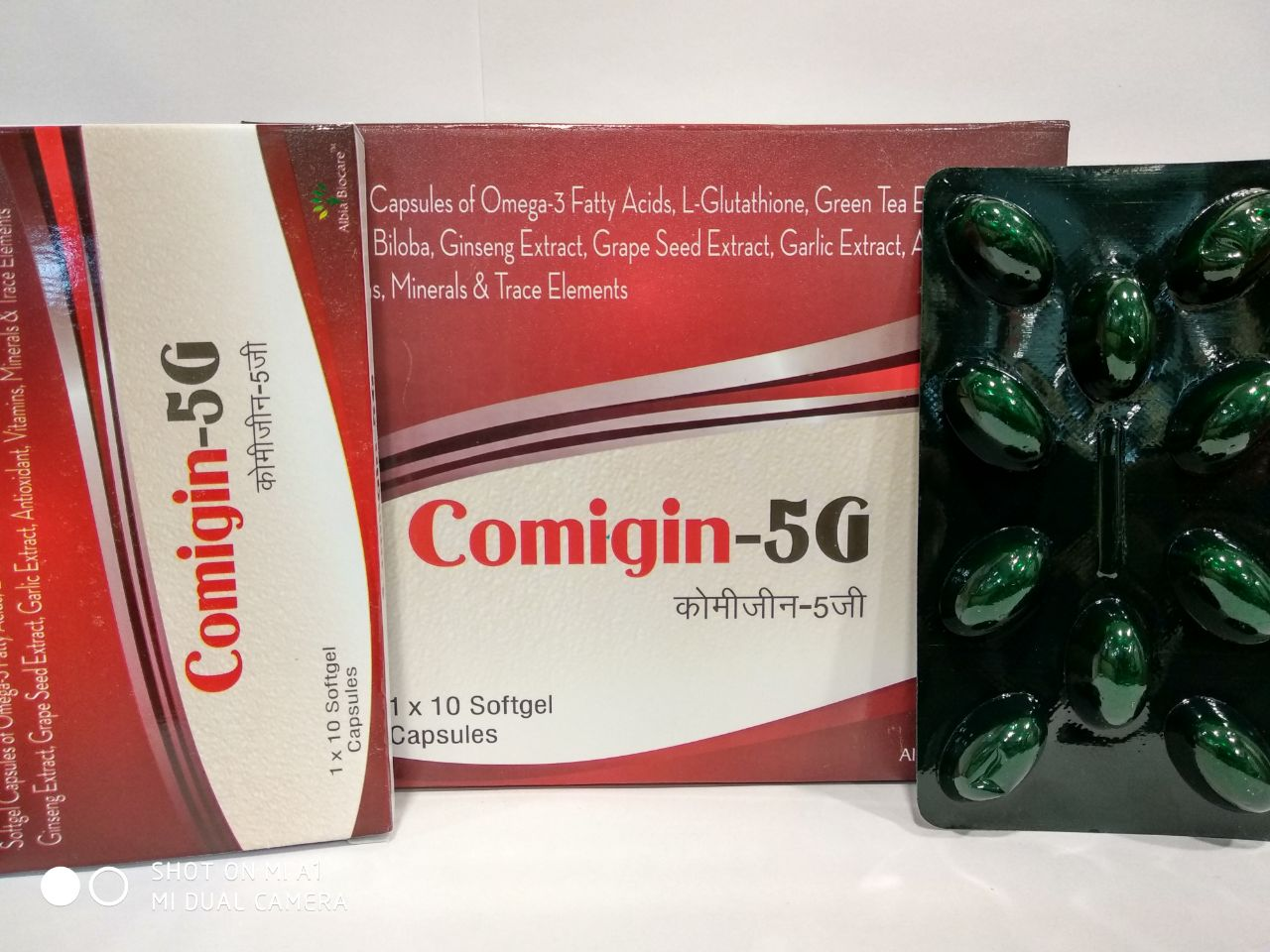 COMIGIN-5G SOFTGEL | Ginseng + Gingko Biloba + Grape Seed Extract + Green Tea Extract + Garlic Extract + L-Glutathione + Omega-3 Fatty Acids + Amino Acids + Vitamins + Minerals