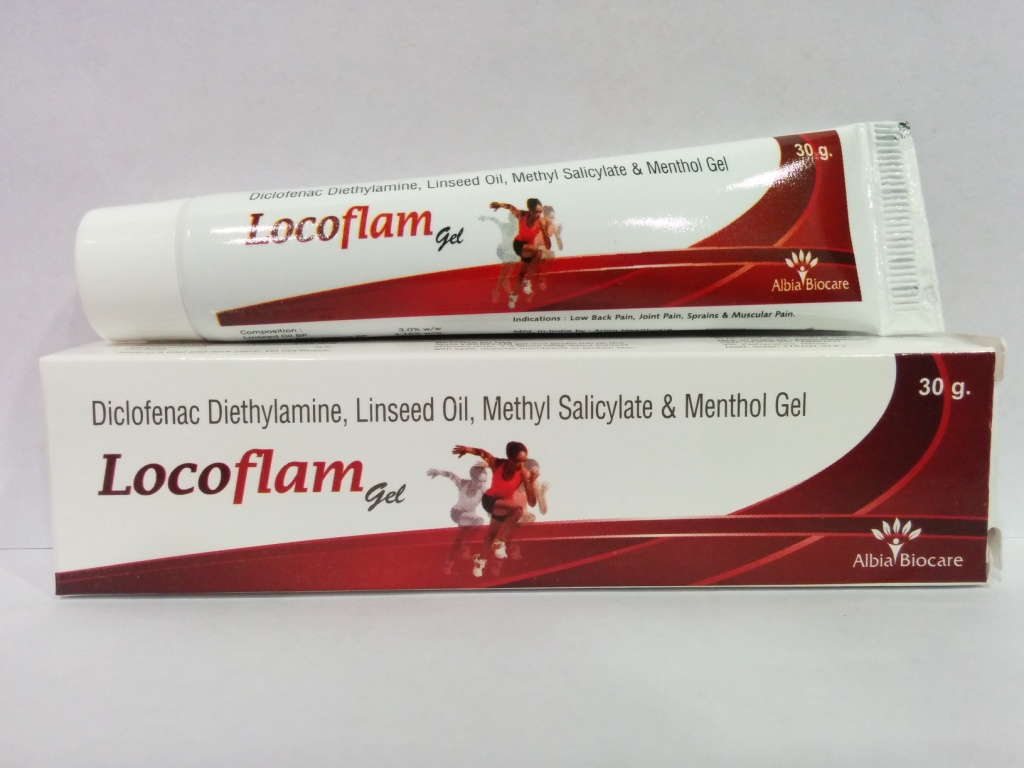LOCOFLAM GEL | Linseed Oil BP 3% + Diclofenac Diethylamine BP eq. to Diclofenac Sodium 1% w/w + Methyl Salicylate IP 10% + Menthol IP 5%