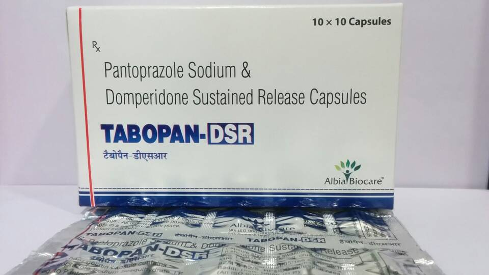 TABOPAN-DSR CAP(Poly Strip Pack) | Pantoprazole 40 mg + Domperidone 30 mg (SR) (Poly strip pack)