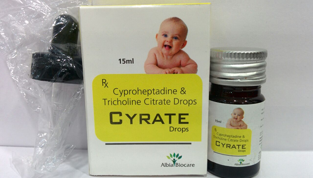 CYRATE DROPS | Cyproheptadine 1.5mg+ Tricholine 55mg (per ml)