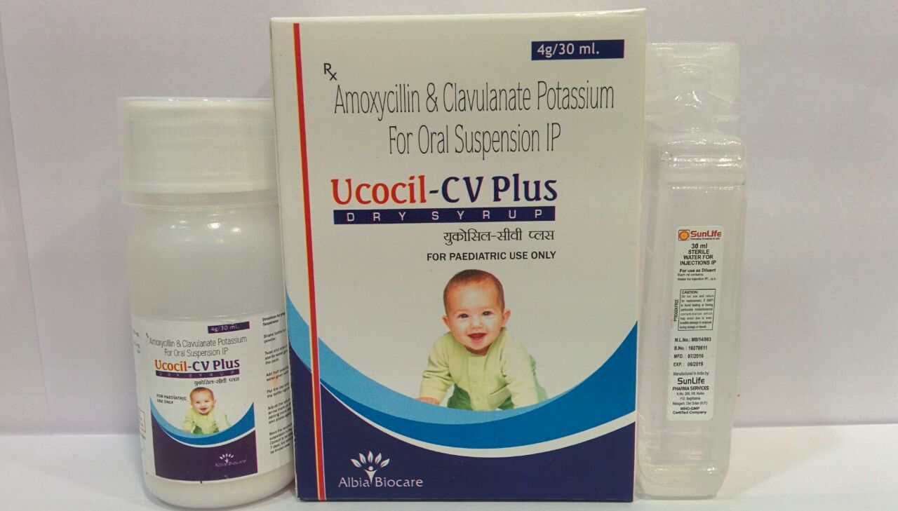 UCOCIL-CV PLUS Dry Susp | Amoxycillin 200mg + Clavulanic Acid 28.5mg (per 5 ml)  + Water for Susp.